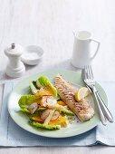 Grilled fish with citrus pasta salad