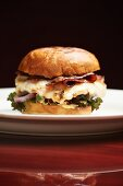 Bacon Cheeseburger on a Brioche Bun with Mixed Greens; On a White Plate