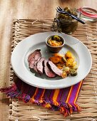 Duck fillet with sweet and sour vegetables