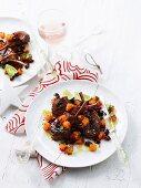 Grilled lamb chops with papaya salad