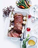 Beef fillet wrapped in ham