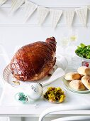 Roast ham with an apple wine and mustard glaze and piccalilli