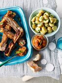Pork belly with a potato and parsley salad and peach relish