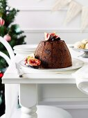 Christmas pudding with figs and fig ice cream