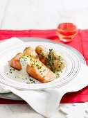 Fried salmon fillet with fried potatoes