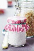 Paper cake case decorating lid of preserving jar