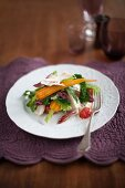Chicken salad with carrots and savoy cabbage