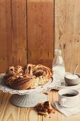 A cinnamon and almond bread wreath