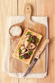 Scandinavian cheese tart with mushrooms and onions