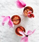 Pink tulips in water glasses (seen from above)
