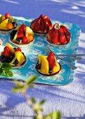 Fruit tartlets and strawberry tartlets