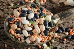 Kidney beans, white beans, pearl barley, black beans, lentils, soup vegetables, yellow peas, peppers, garlic and bay leaf