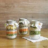 Assorted bean soup mixes in jars