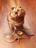 Walnut and chocolate cake in a glass