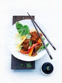 Ragout of beef with Chinese egg noodles