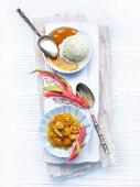 Orange crème brûlée with cardamom and lime ice cream and kiwi and kumquat salsa