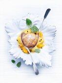 Quark dumpling with exotic fruit compote