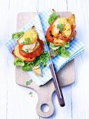 Toast with tomato and chicken breast