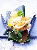 Toast with pineapple, mango and tofu