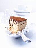 A slice of Baumkuchen (German layer cake) on a cake slice