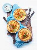 Seafood tarts with shrimp and crayfish