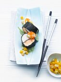 Arctic trout and Jacob's mussels wrapped in nori