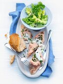Trout fillets with leek farce and chive sauce