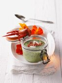 Herb soup with crayfish