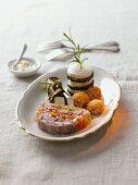 Assorted mozzarella recipes with beef aspic