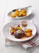 Beef fillet with hash browns and zucchini