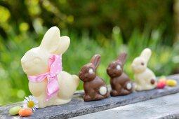 Chocolate bunnies and jelly beans on a garden table