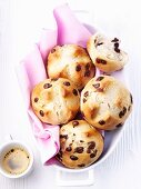 Yeast bread rolls with chocolate chips, espresso