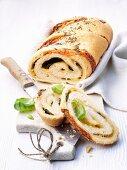 Italian mozzarella bread, sliced