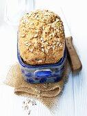 Multi-grain bread in the baking pan