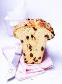 Raisin bread on a dish towel