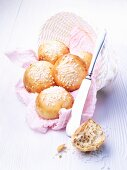 Fresh baked rolls with sugar crystals