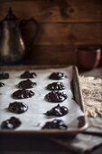 Double Chocolate Chip Cookie Batter on a Sheet Pan Ready for Baking
