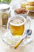 A glass of elderflower tea