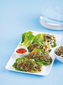 Minced meat with noodles on lettuce leaves