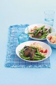 Garlic mushrooms with couscous and green beans