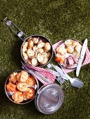 Potato salad with roast beef, and cheddar and horseradish muffins for a picnic