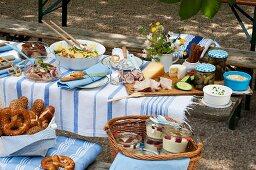 A buffet in a beer garden