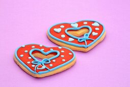 Decorated heart-shaped biscuits