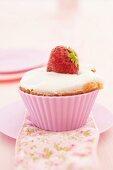A strawberry muffin