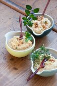 Houmous with walnuts and herbs