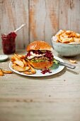Hamburgers with beetroot compote and chips