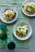 Grilled bread with artichokes, enoki mushrooms and parmesan