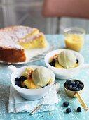 Blueberry Hill – ice cream sundae with vanilla ice cream, blueberries, lemon curd and limoncello sponge cake