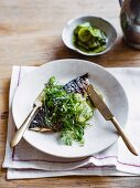 Mackerel with pickled cucumber, horseradish and herbs