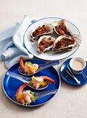 Prawns with cocktail sauce and oysters Kilpatrick